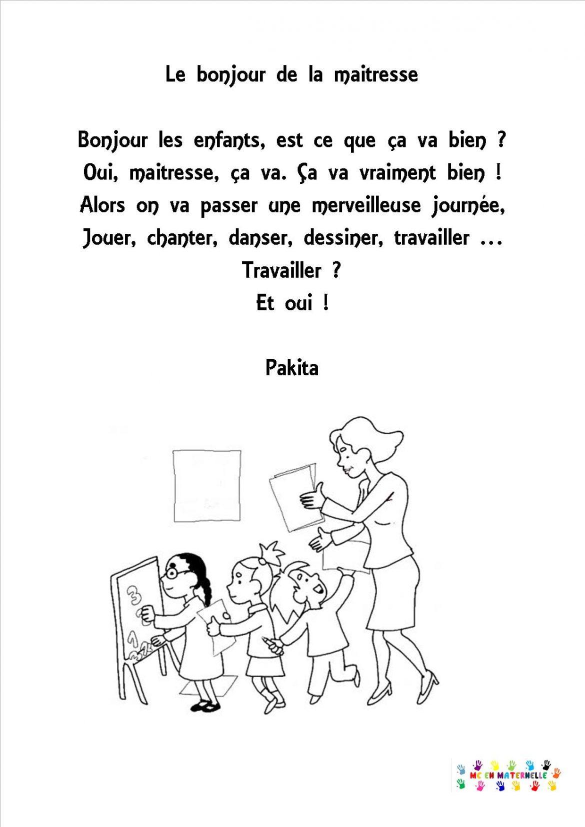 Chansons comptines page 3 mc en maternelle - Coloriage pour la maitresse ...