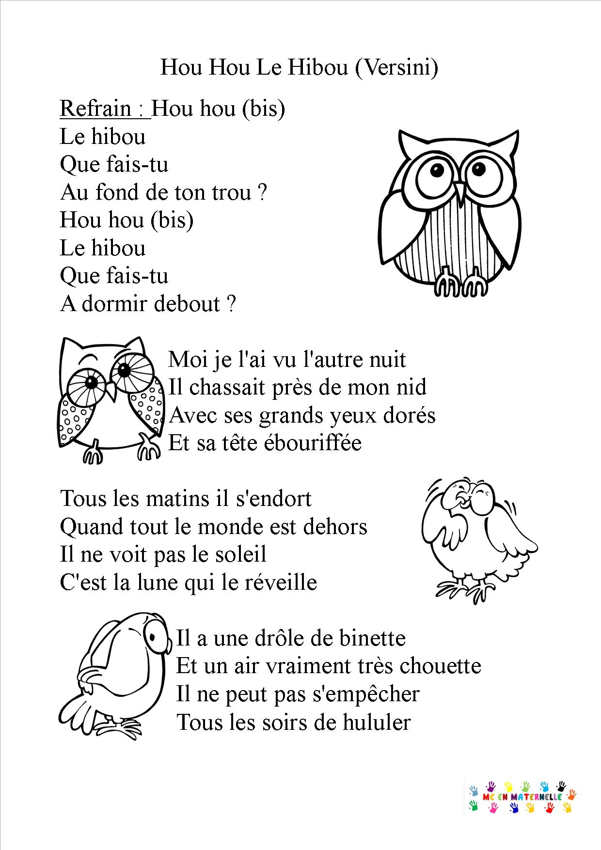 hou hou le hibou mc en maternelle. Black Bedroom Furniture Sets. Home Design Ideas