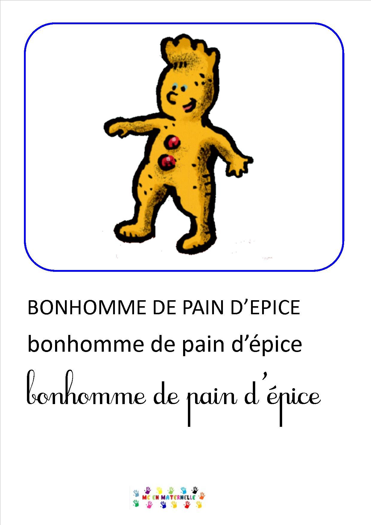 Petit bonhomme de pain d pice imagier mc en maternelle - Coloriage petit bonhomme de pain d epice ...