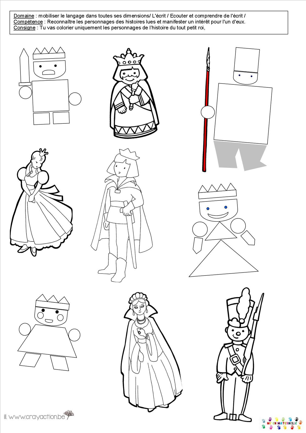 Le tout petit roi reconna tre les personnages mc en maternelle - Coloriage tout petit ...