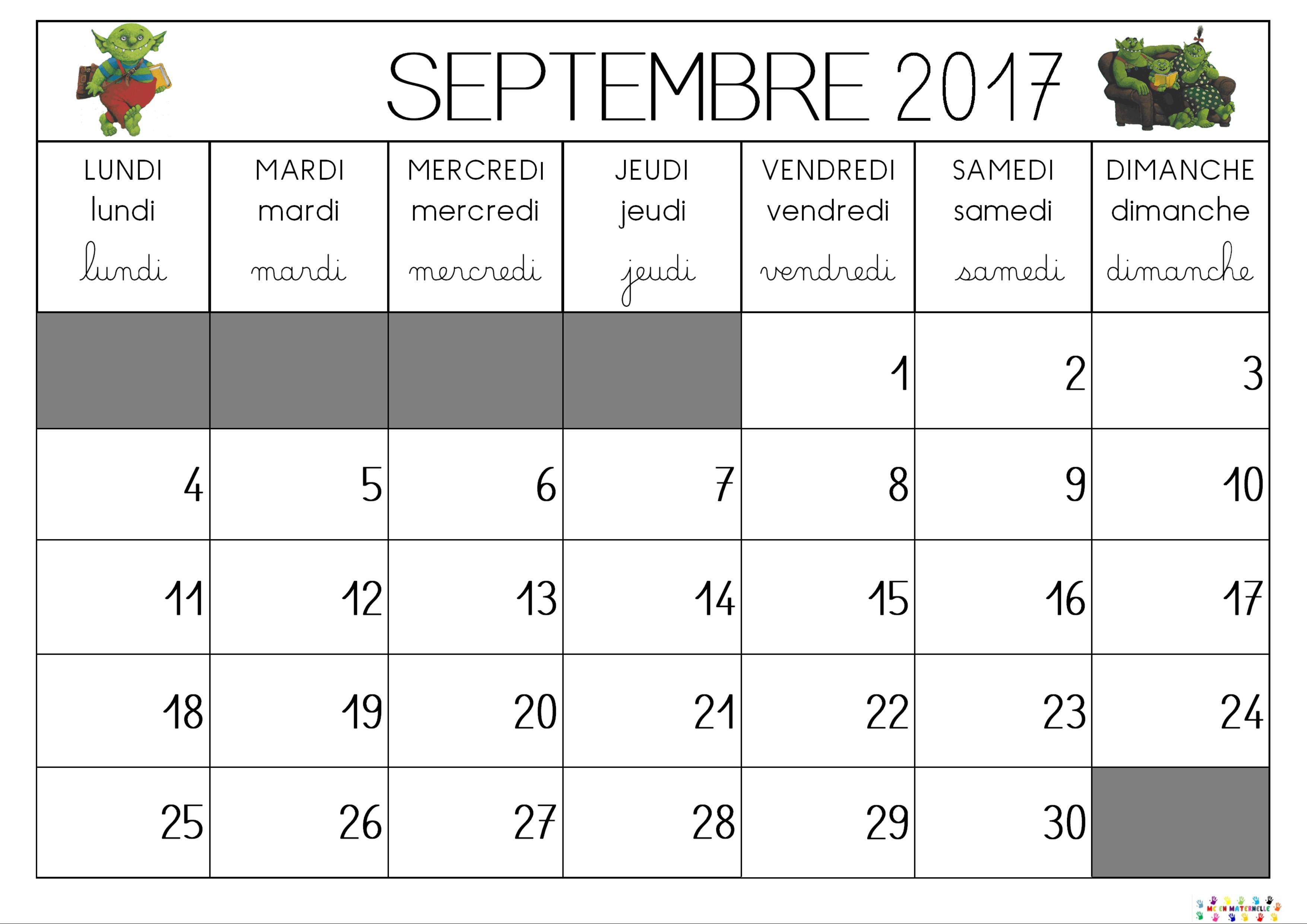 Calendrier Mois De Septembre.Annee 2017 2018 Pour Le Calendrier Mc En Maternelle