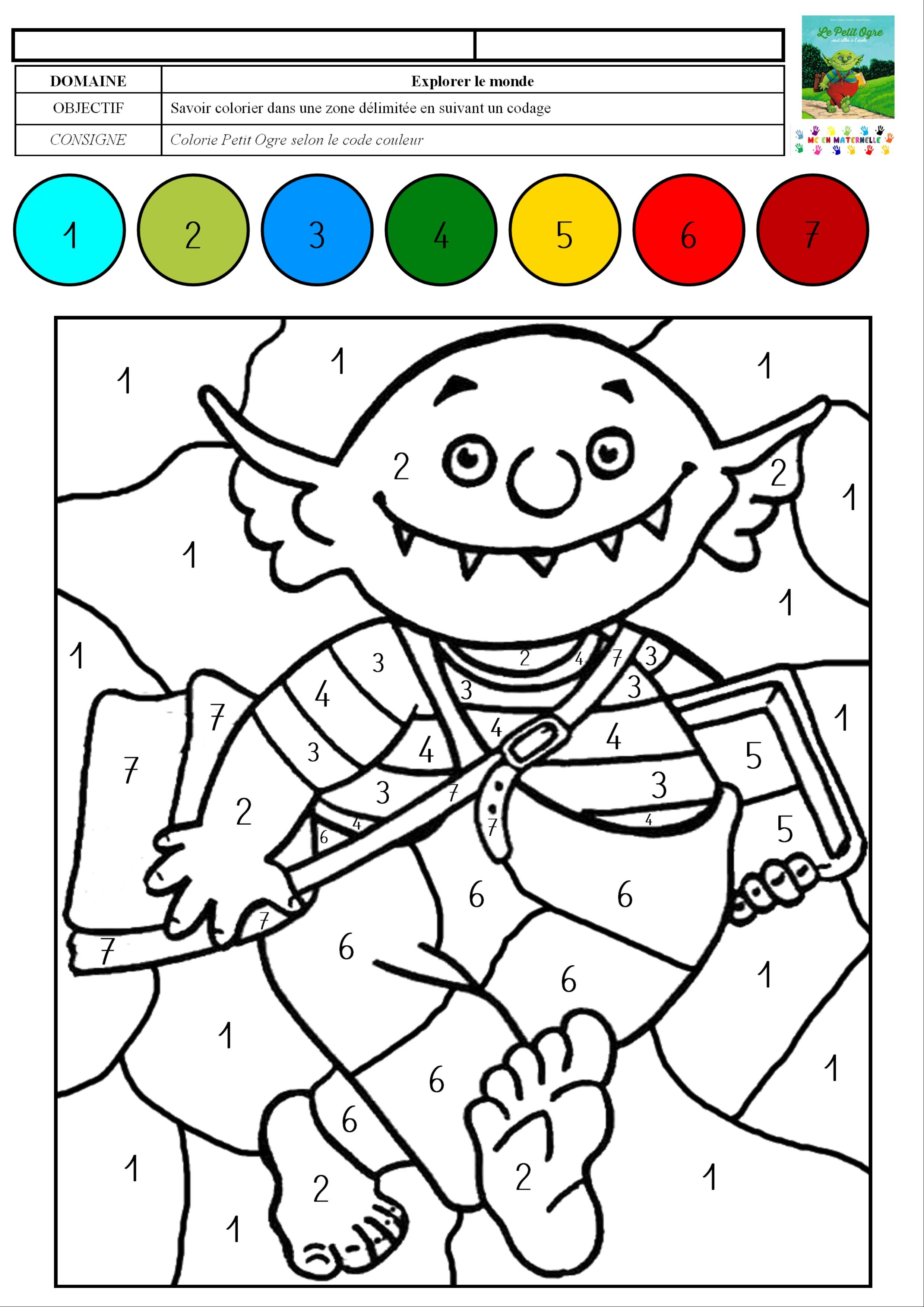 Le Petit Ogre Veut Aller A L Ecole Coloriage Magique Avec Des