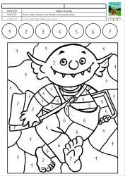 Le Petit Ogre Veut Aller A L Ecole Coloriage Magique Avec Des Chiffres De 1 A 7 Mc En Maternelle