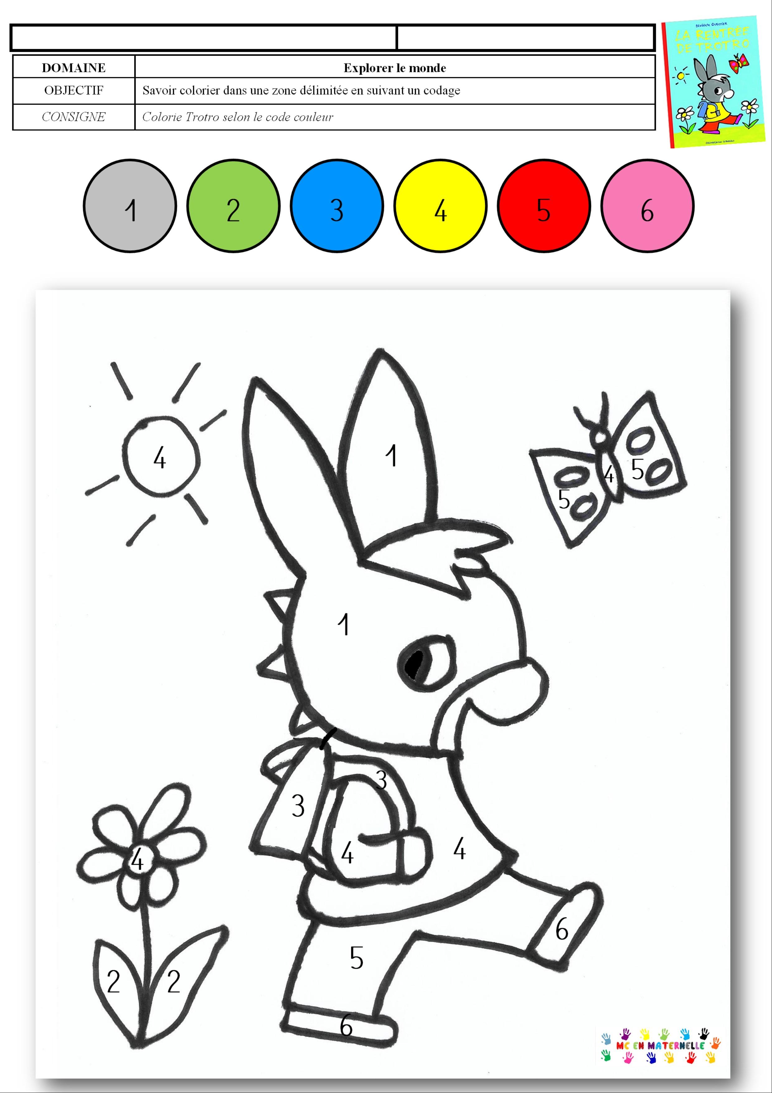 La Rentrée De Trotro Coloriage Magique Mc En Maternelle